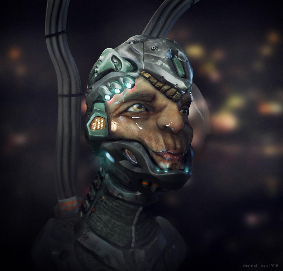 Alien sculpt final render with psd adjustmnets